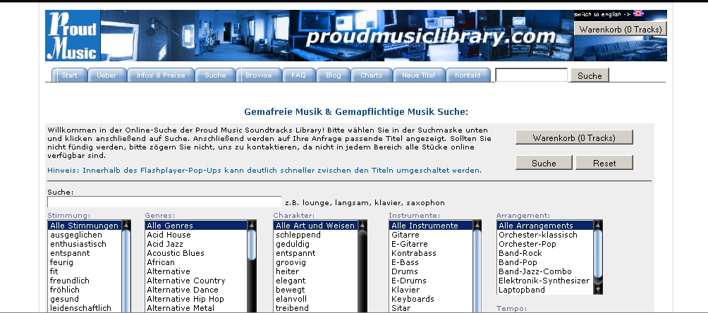 Proud Music Library - Royalty-free Music mit Renomee