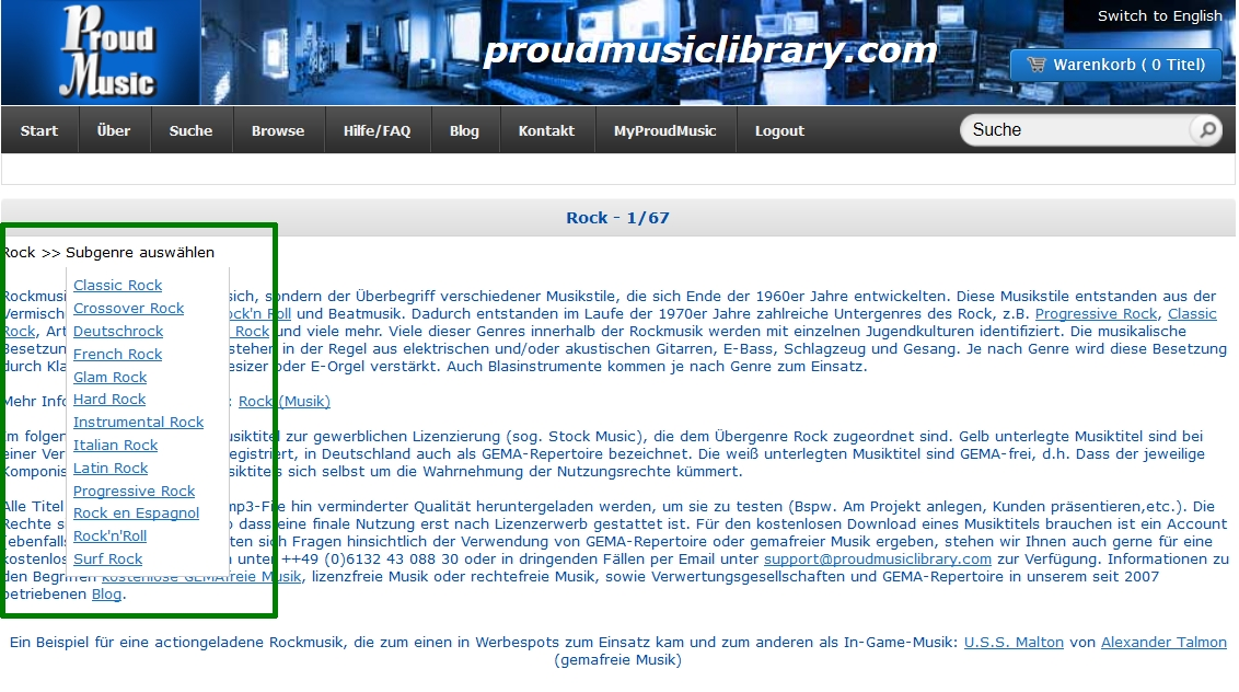 Brotkrümelnavigation oder Brotkrumennavigation (englisch breadcrumbs, breadcrumb navigation) in der Suche für Stock Music der Proud Music Library