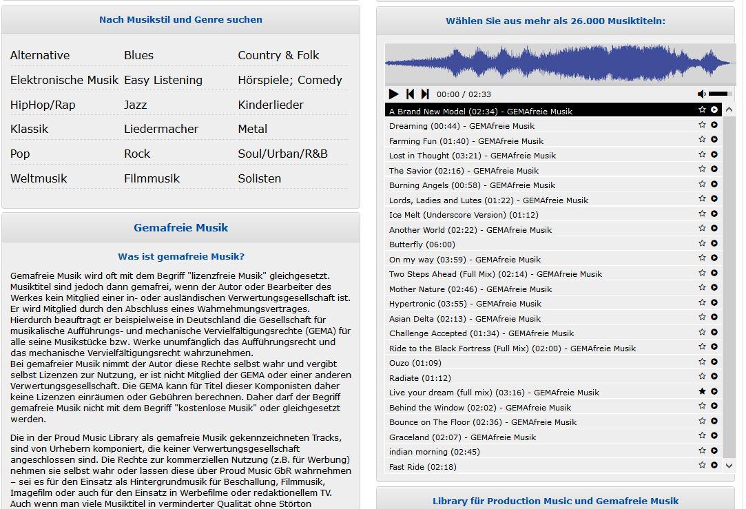 Kennzeichnung von GEMAfreie Musik - Proud Music Library